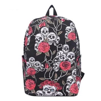 Gothic Printed Skull & Flowers Travel Bag Backpack
