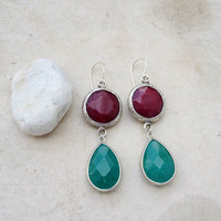 everyday jewelry fashion long  DUAL teal emerald green drop &  cherry red jade stones gemstone earrings textured matte silver Israel jewelry