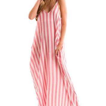Stripe Harem Side Pocket Dress