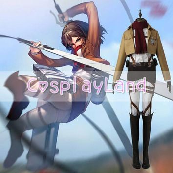 Cool Attack on Titan  Cosplay Mikasa Ackerman Full Set Uniform no  Training Corps Anime Adult Women Halloween Costume AT_90_11