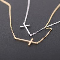SIDEWAYS CROSS necklace in silver by bythecoco on Zibbet