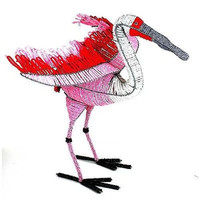 Handmade Life-Size Beaded Roseate Spoonbill - South Africa