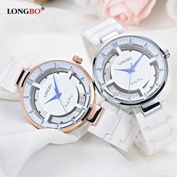 LONGBO 2017 Fashion Ceramic Quartz Wrist Women Watch Ladies Gold Wristwatch Top Brand Female Clock Montre Femme Relogio Feminino