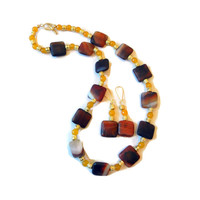 Autumn Beaded Necklace and Earring Set, Yellow, Gold, Amber