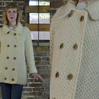 Vintage 60's Natural Woven Wool Double Breasted Sweater Jacket
