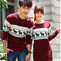 Quality christmas sweater for men and women couples matching christmas sweaters for lovers couple Christmas Deer sweaters