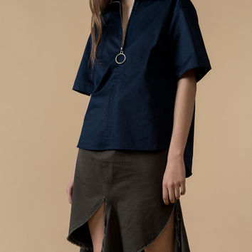 Oversized Zipper Detail Shirt
