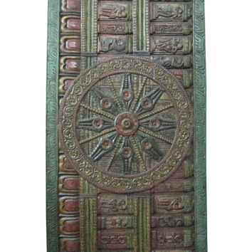 "Indian Carving Decorative Sun Temple Konark Wheel Door Panels 72"" X 36"""