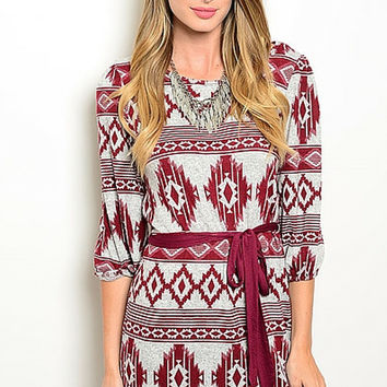 Wine and Grey Tribal Jersey Dress