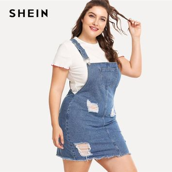 Denim Overall  Summer Straps Sleeveless Ripped Plus Size Casual Denim Dress