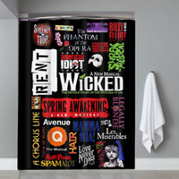 Top Famous Broadway Musical Show Collage Shower Curtain Limited Edition
