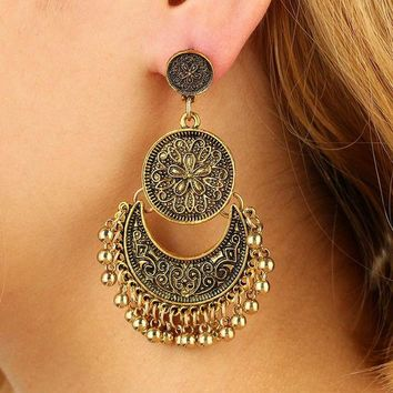ac spbest BeautyWay Long Tassel Pendants Stud Earring Vintage Bohemia Sunflower Shape Zinc Alloy Earring Jewelry For Women 3380