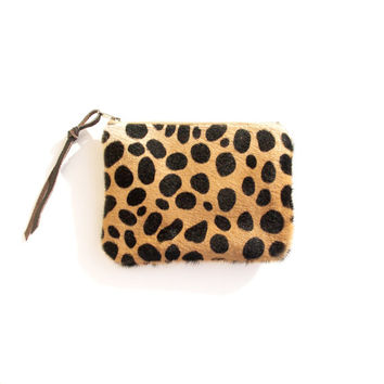 Leopard Pouch // Cheetah Calf Hair // Zipper Coin Purse // Leather Bag // Iphone // Gift for her // Animal Print