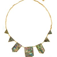 House of Harlow 1960 Jewelry Abalone Five Station Necklace