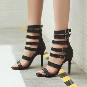 High Heel Ankle Sandals Open Toe Shoes Bandage Party Club Stiletto Summer Pumps