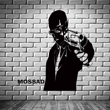 Mossad Secret Agent Man With Gun Decor Wall Stickers Vinyl Decal (z2260)