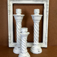 Candle Pillar, Pillar Candle Holder, Large Candle Holder, White Decor, Shabby Chic, Farmhouse Rustic, Candle Dining Decor, Weathered Decor