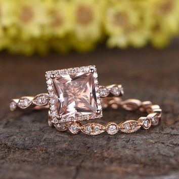 7mm Princess Cut Pink morganite engagement ring set,Marquise wedding band,2pcs rings,14k rose gold,full eternity diamond band,Milgrain,Deco