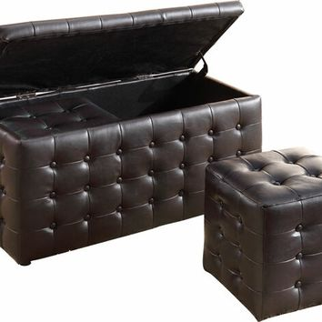 Home Elegance 4720PU 3 pc reynolds collection black bycast vinyl upholstered ottoman storage bench with two stools