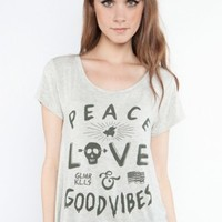 Glamour Kills Clothing - Girls Peace Love & Good Vibes Drop Top