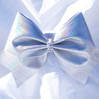 Cheer bow-Holographic white fabric bow with rhinestone center- cheeleading bow- cheerleader bow- softball bow- cheerbow- dance bow