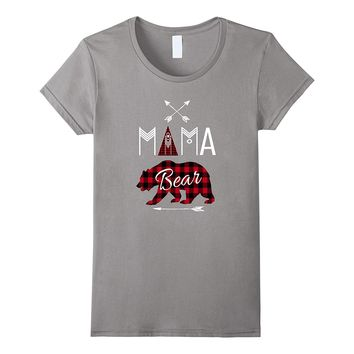 Mama Bear Shirt Buffalo Plaid Family Camping Tee