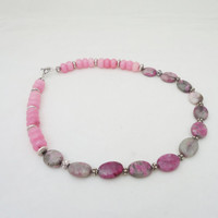 Agate and Jade Necklace, Lace Agate and Pink Jade Necklace, Simple Necklace, Pink Necklace, Gemstone Necklace, UK Seller