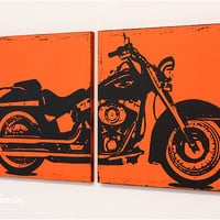 Distressed Harley Davidson Motorcycle Screenprint Wall Art in Custom Colors