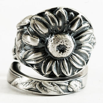 Spoon Ring Art Nouveau Sunflower Sterling Silver, Handmade in Your Size (3134)