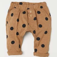 Cotton Pants - Dark beige/dotted - Kids | H&M US