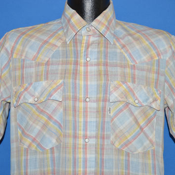 80s Levis Pastel Plaid Western Pearl Snap Shirt Medium