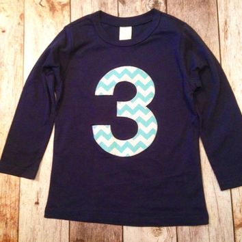 3 Aqua chevron Birthday shirt Long Sleeve Birthday Shirt Navy boys blue teal turquoise Number Any Birthday 3rd third three 1 2 4 5 1st 2nd