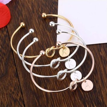 Women Creative Simple Initial Knot Bracelet 26 Letters Girlfriends Bracelet Love Bridesmaid Opening Bangle Jewelry