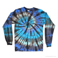 Nautilus Tie Dye Long Sleeve T Shirt Blue Small on Sale for $23.99 at The Hippie Shop