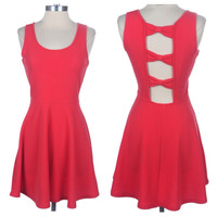 CLOSEOUT~Spring Delight Open Back Bow Link Coral Sleeveless Tank Mini Dress