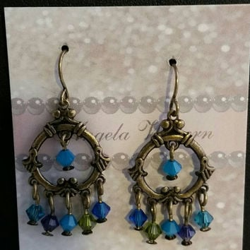 Chandelier earrings, crystal on brass filigree