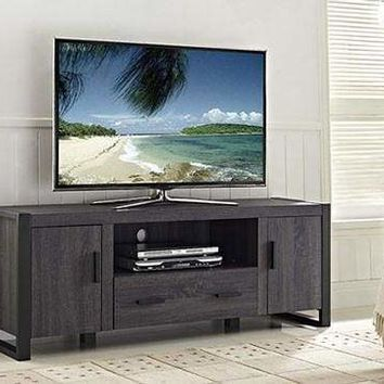 """60"""" Charcoal Grey Wood TV Stand Console by Walker Edison"""