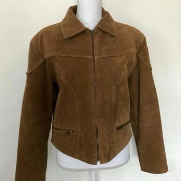 Comint Stylish Bomber Ladies Brown Leather Suede Jacket, Size Medium