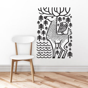 Wall decal / wall sticker / Forest animals / deer and owl / animals / home decor
