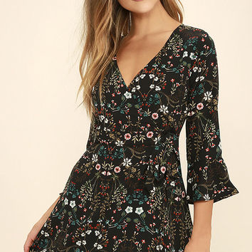 Lady of the Greenhouse Black Floral Print Wrap Dress