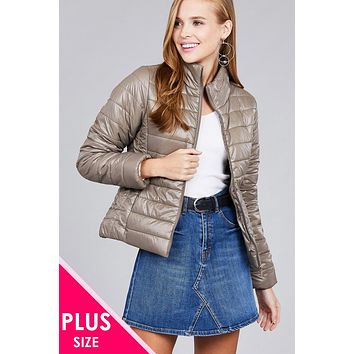 Cute Casual Vintage Affordable Plus Size Clothes for Women Ladies fashion plus size long sleeve quilted padding jacket