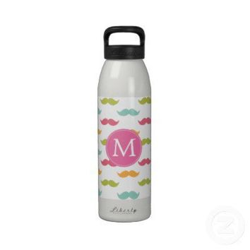 Monogrammed Colorful Mustache Lovers Reusable Water Bottles from Zazzle.com