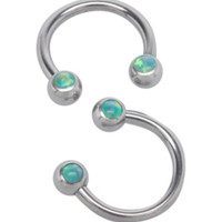 Steel Green Opal Circular Barbell 2 Pack