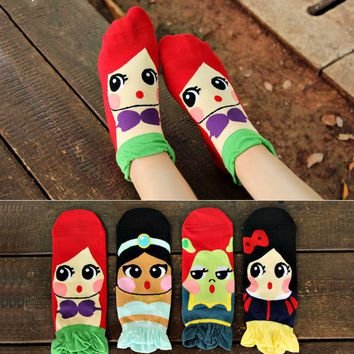 cute Princess socks kawaii harajuku 3d ladies socks male 2016 New japanese korean Cotton ankle funny socks