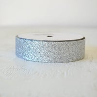 SILVER glitter tape, 1 inch x 3 yards, holiday packaging