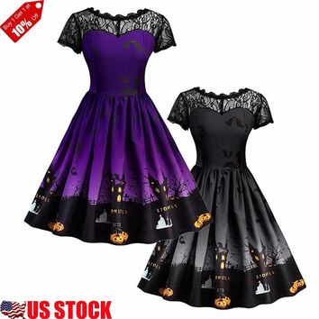 Women Lace Short Sleeve A-line Dress Halloween Print Swing Skater Party Dress US