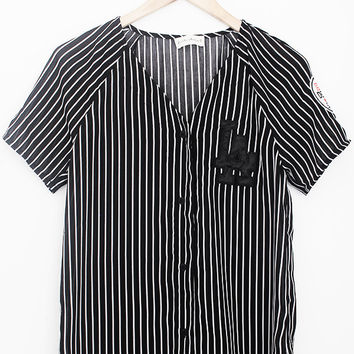 Stripe Baseball Button Up