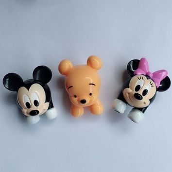 50pcs/lot Mini Bear Baby Mickey Minnie Mouse Head Figure Toys PVC Action Figure Doll DIY Accessory Material 5CM