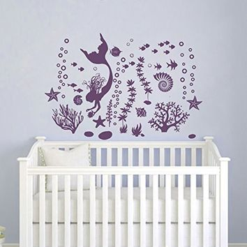Mermaid Wall Decals - Marine Wall Decor - Seaweed Wall Stickers - Bathroom Wall Art - Nautical Wall Decal - Vinyl Decal - Nautical Animal Art MN984