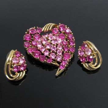 Rhinestone Heart Brooch Earrings Lisner Jewelry Set   S7711